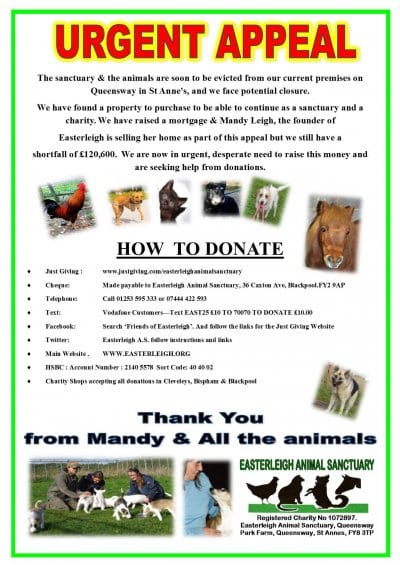Easterleigh Animal Sanctuary Urgent Appeal