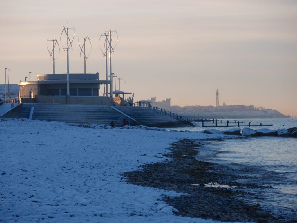 Snow at the seaside on Rossall Beach at Cleveleys