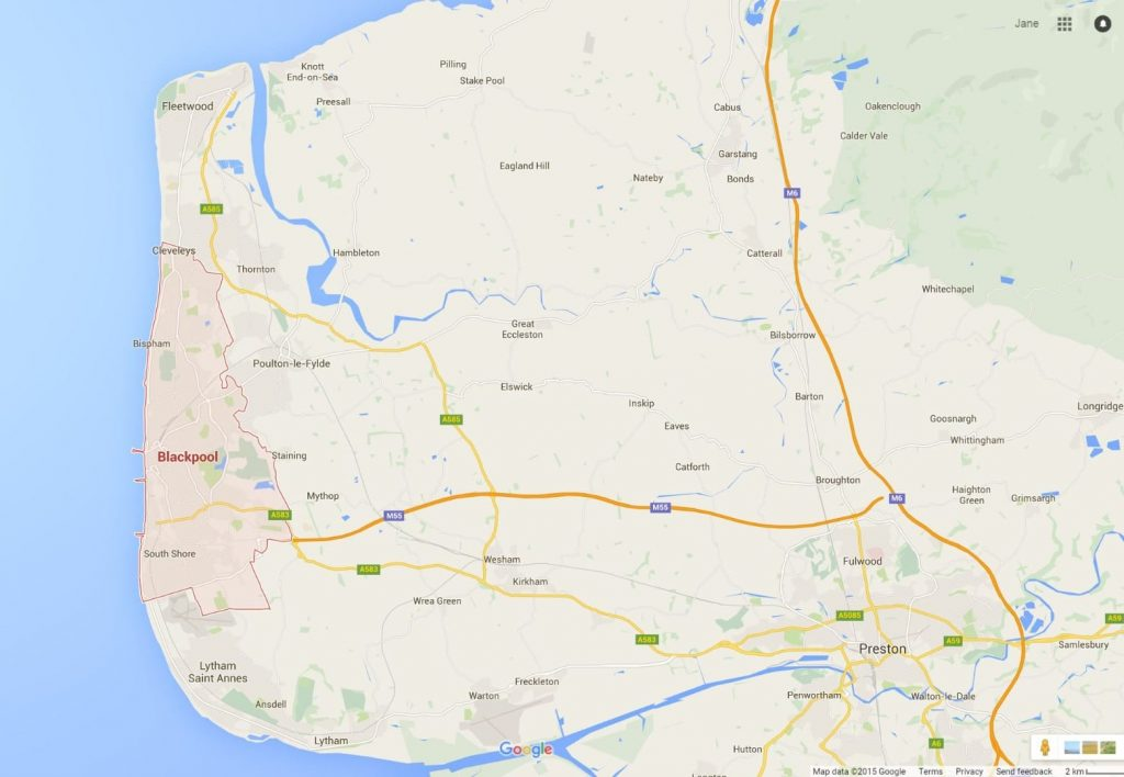Google map, make getting to the Fylde Coast easy