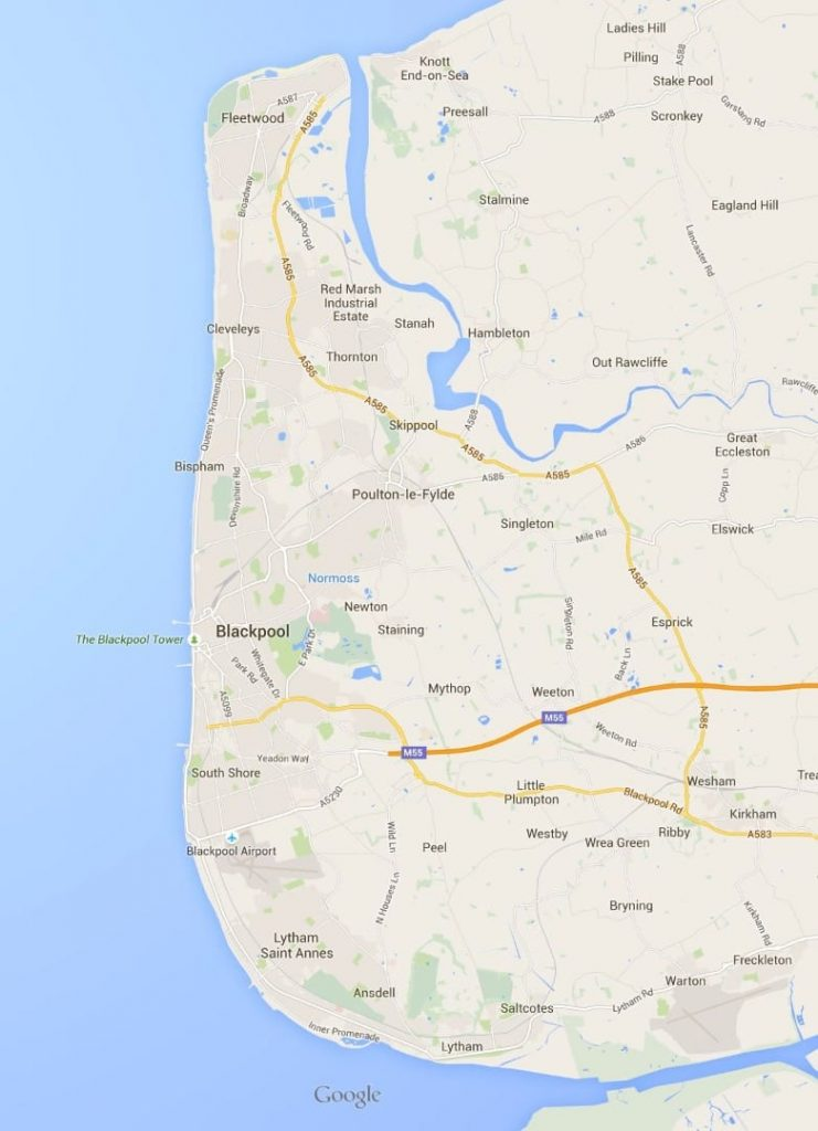 Google map of the Fylde Coast seafront