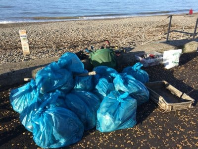 Rubbish at a Cleveleys beach clean