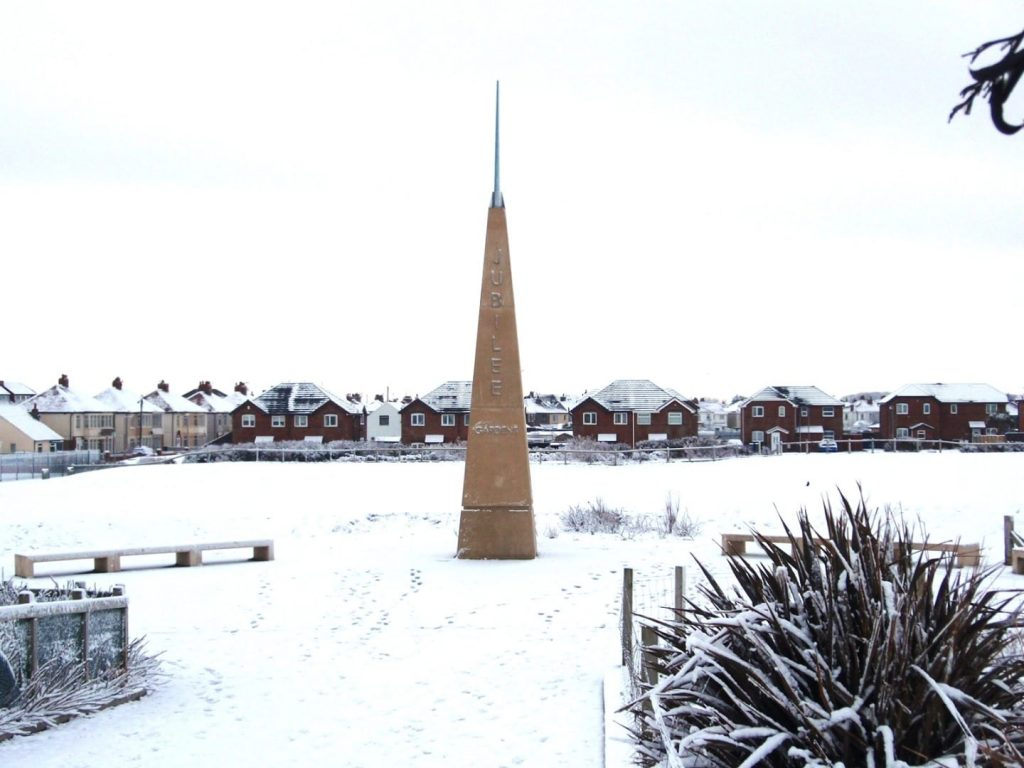 Jubilee Gardens at Cleveleys. Snow at the seaside