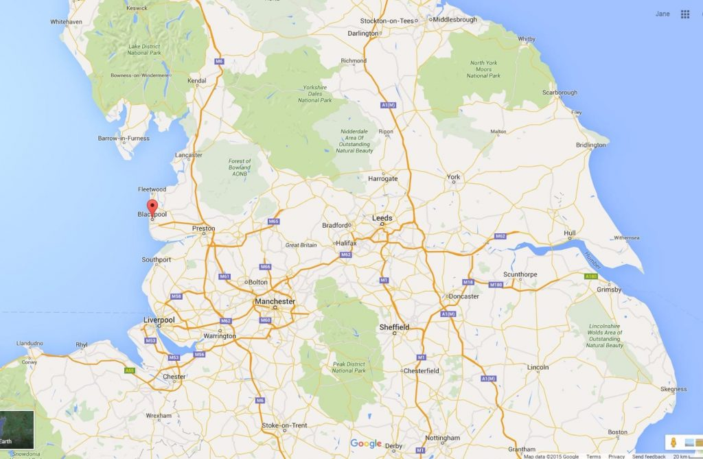 Google map of the North West of England, make getting to the Fylde Coast easy
