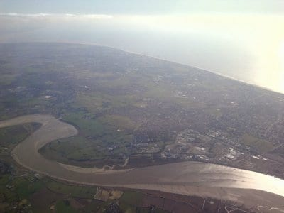 River Wyre with Blackpool Tower just visible on the coast
