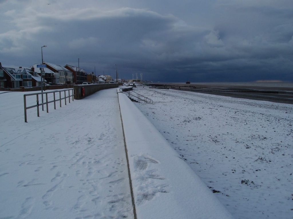 Snow at the seaside on Rossall Promenade at Cleveleys