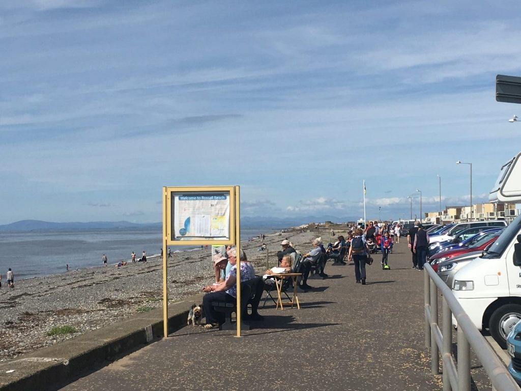 Rossall Beach Cleveleys where you can park your car and enjoy views over the sea of the Fylde Coast seafront