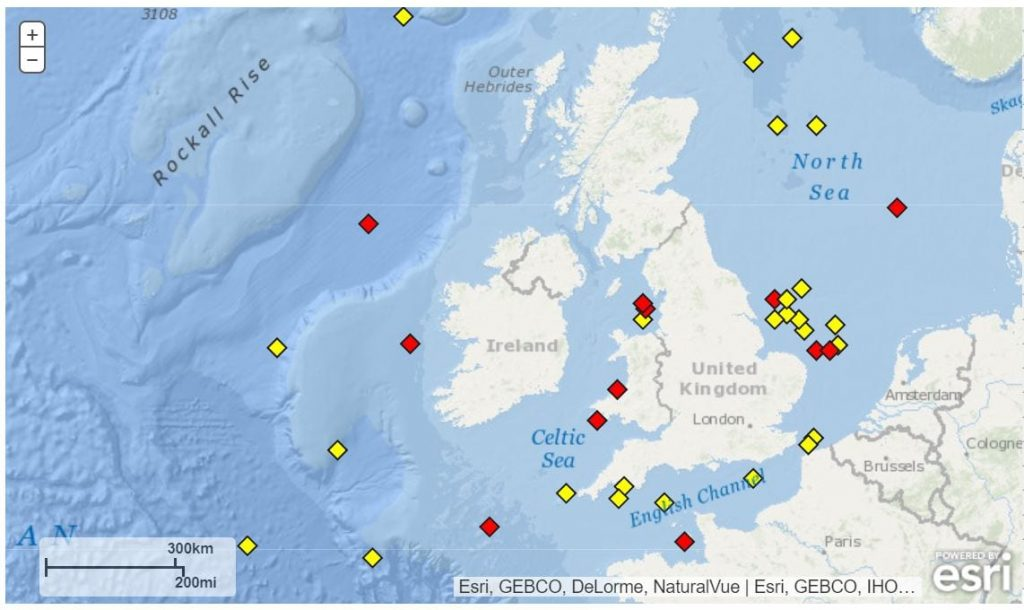 National Data Buoys in waters around the UK, all recording weather conditions at sea
