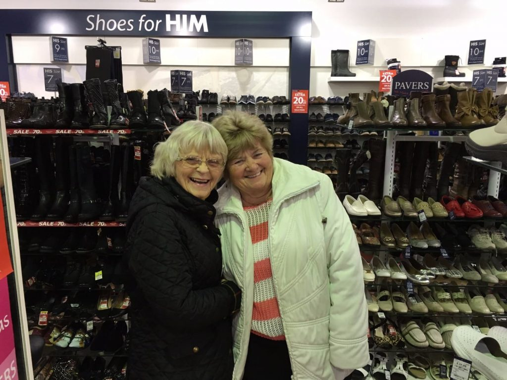 Me and my friend Val in happier days, caught out shopping