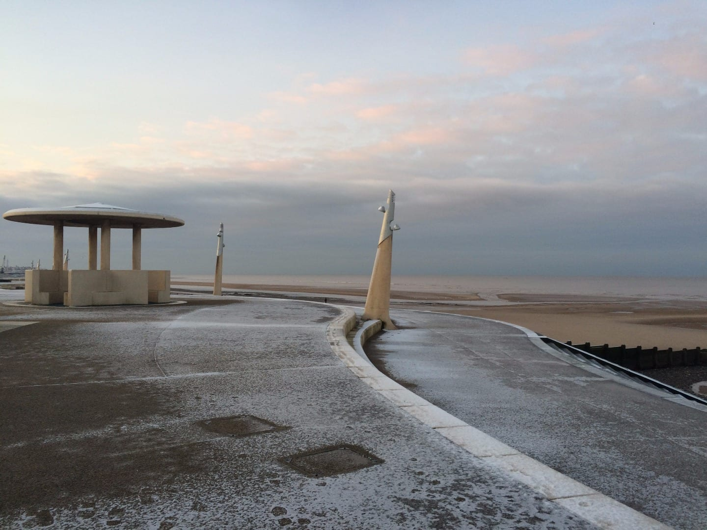 Cold and snowy Cleveleys promenade