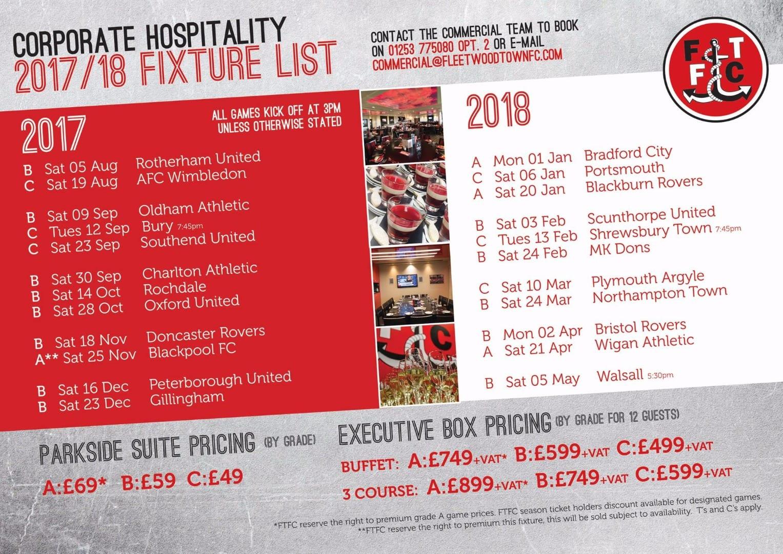 VIP Fixture list Fleetwood Town FC 2017-18