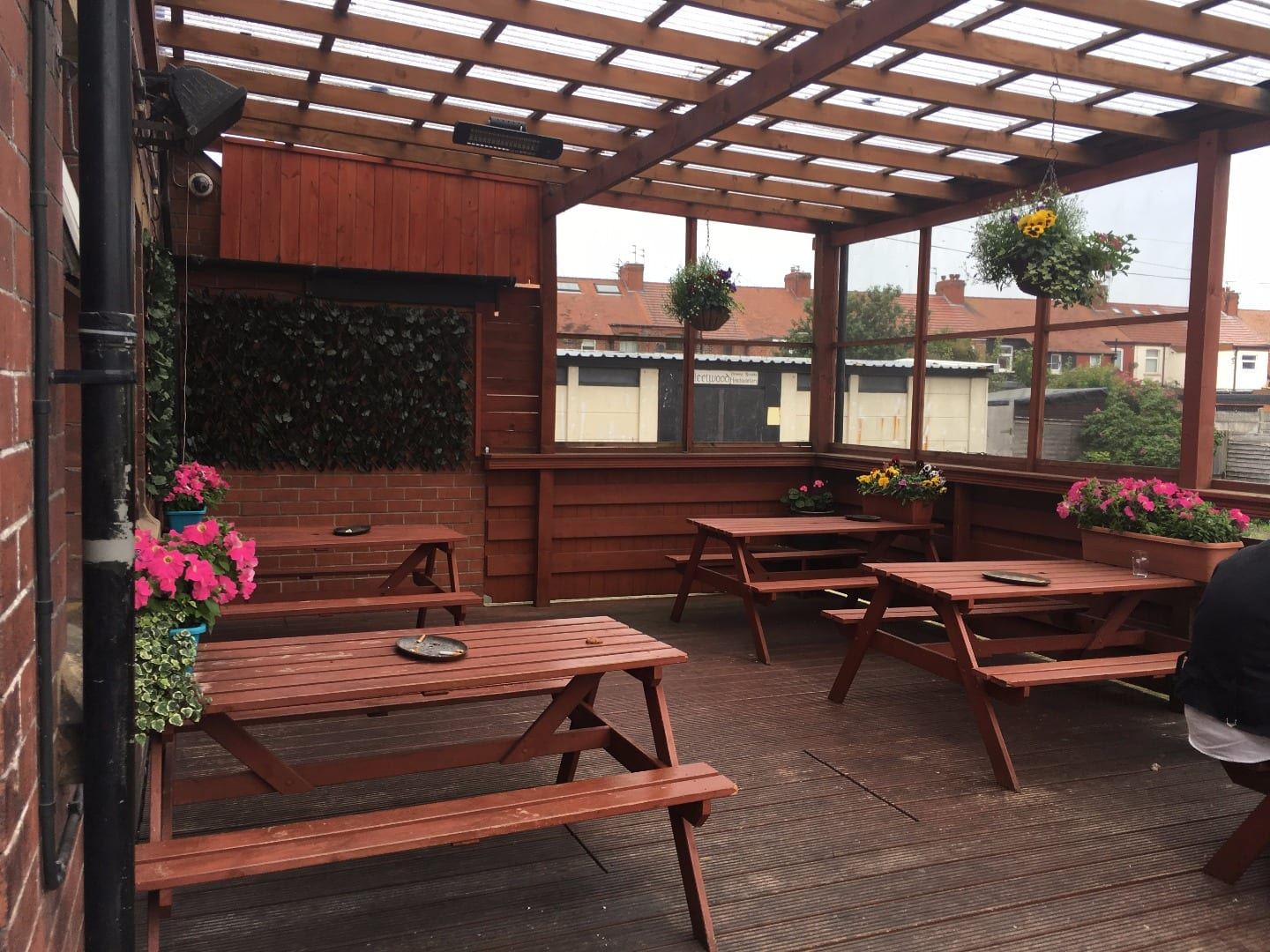 Beer garden at the Strawberry Gardens Pub and Bistro Fleetwood