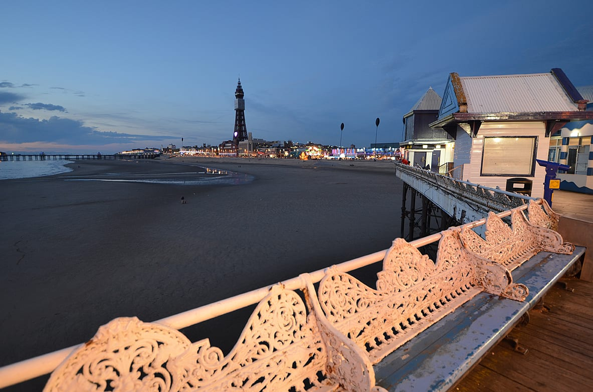 Blackpool Central Pier and Tower at night