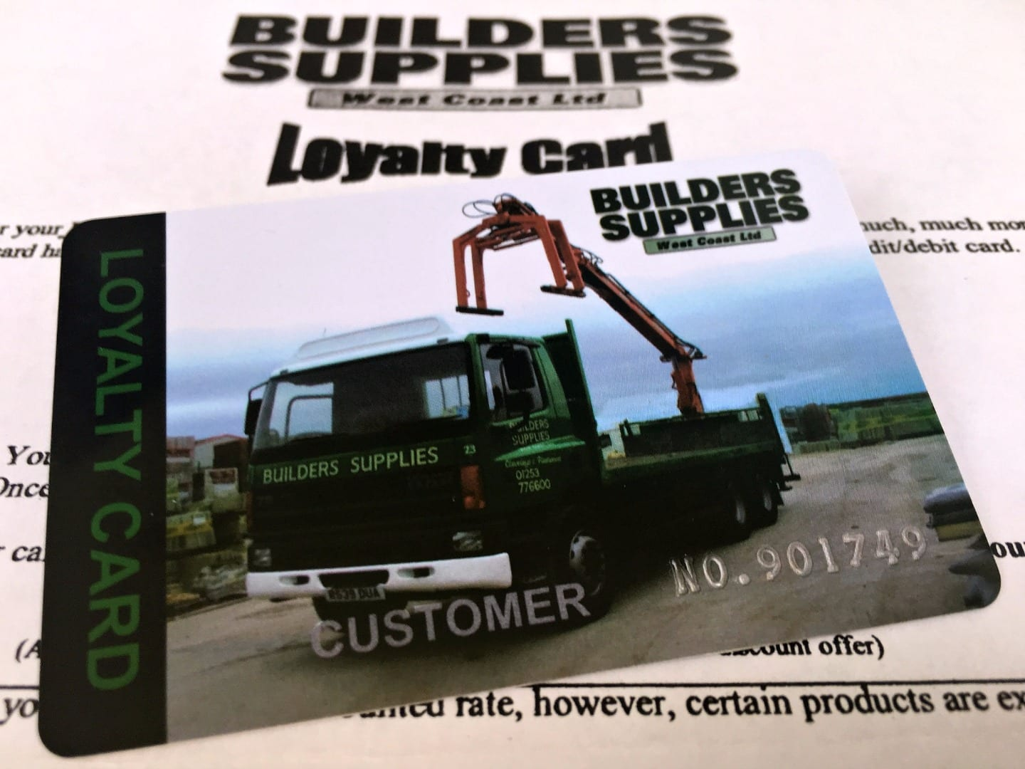 Builders Supplies loyalty card