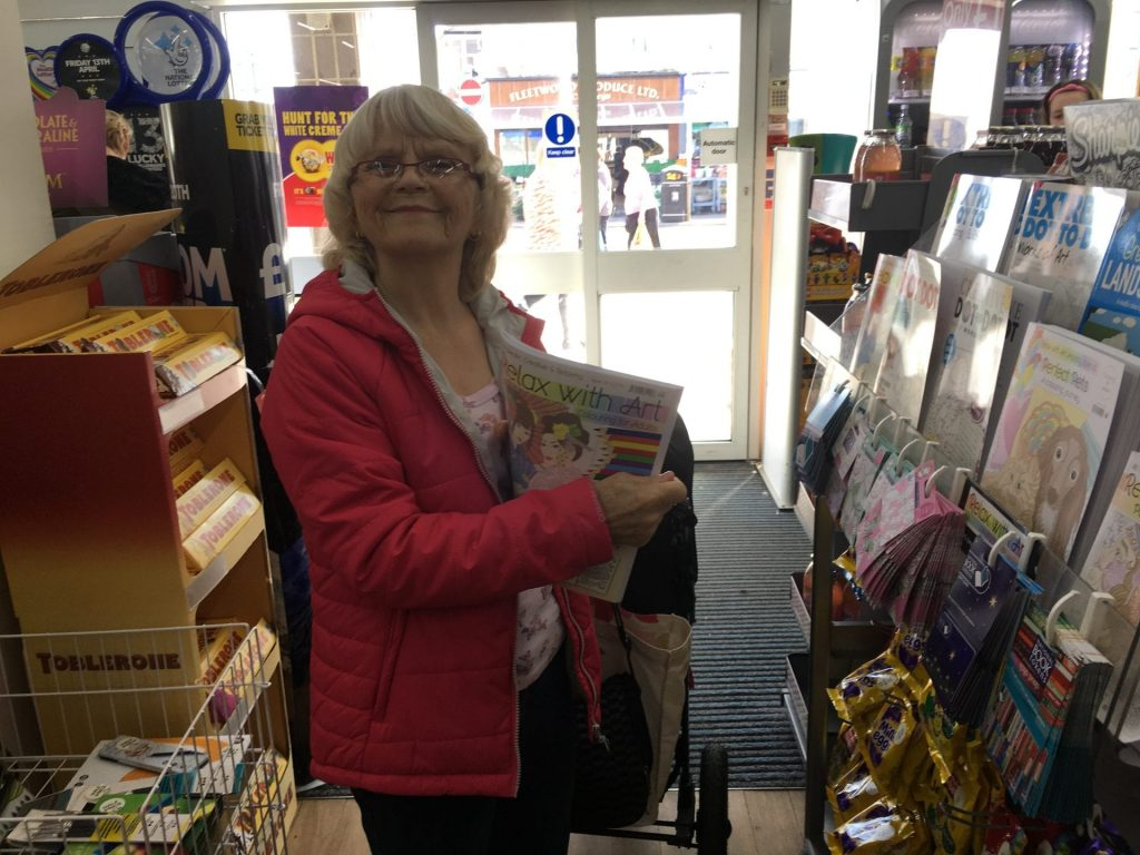 Chrissie shopping in Cleveleys