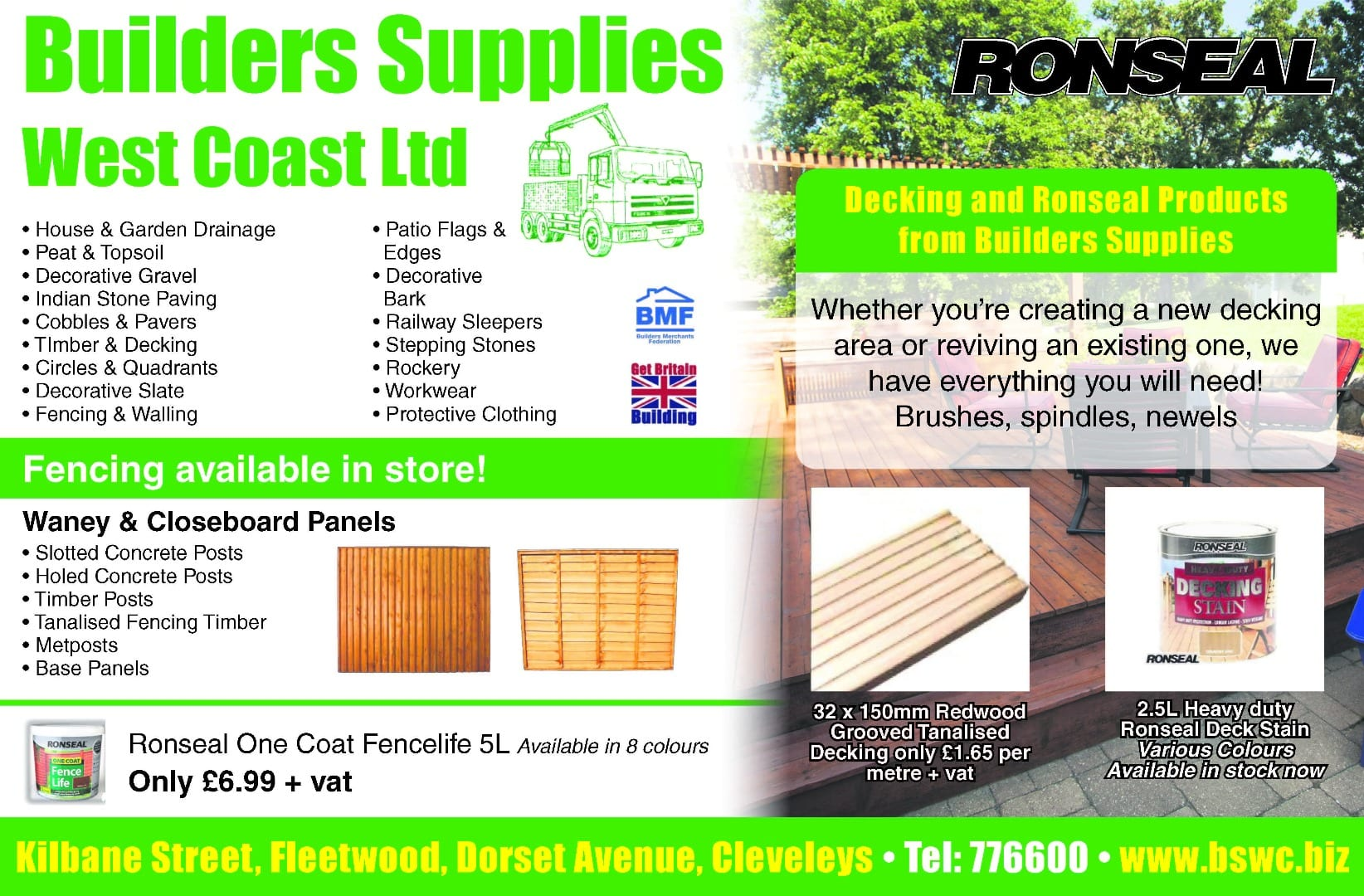 Decking, fencing and Ronseal products