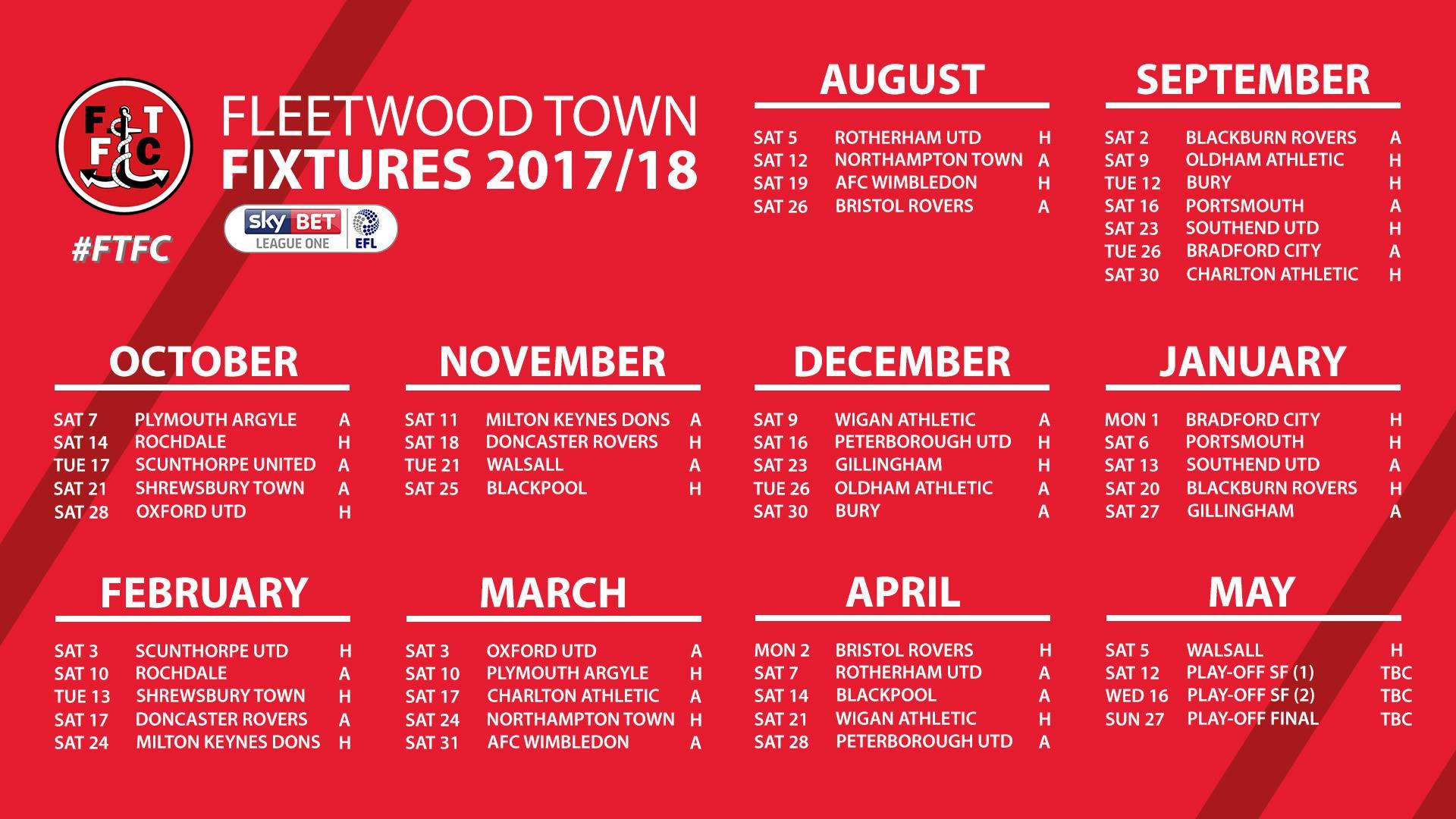 Fleetwood Town FC Fixtures for 2017/18