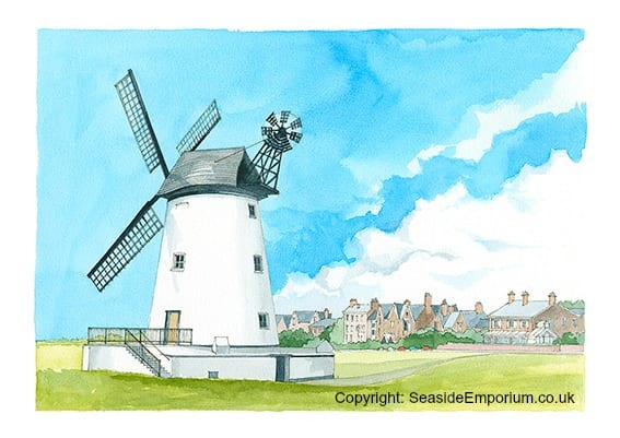 Original watercolour painting of Lytham windmill from Seaside Emporium