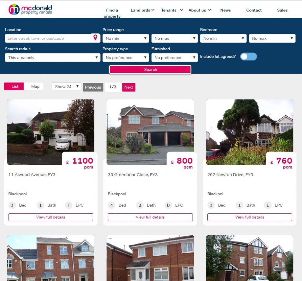 McDonald Property Rentals, homes to rent on their website