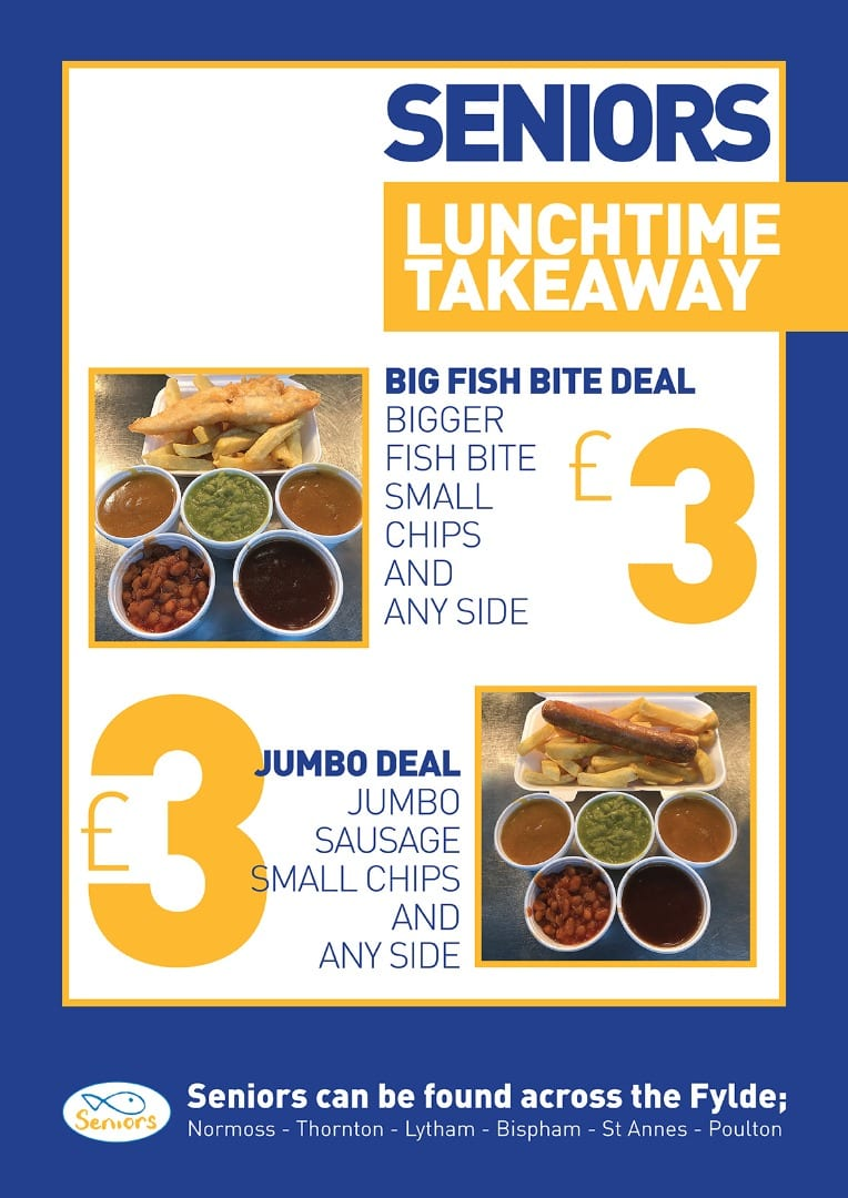 Lunchtime takeaway offers at Seniors Fish and Chips