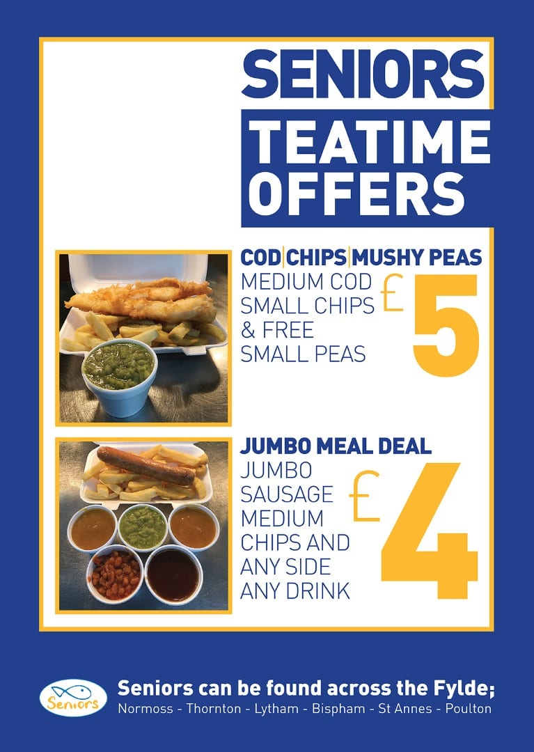 Teatime Takeaway offer at Seniors Fish and Chips