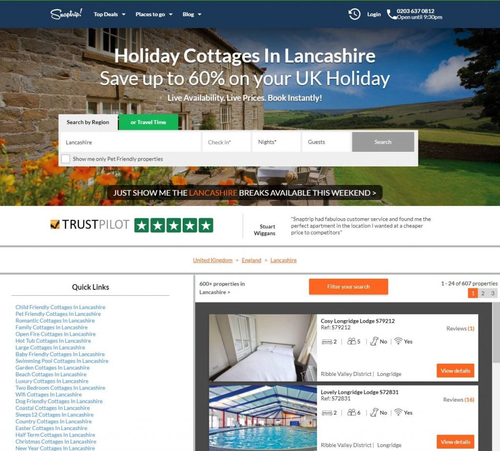 Look at the Snaptrip website for self catering holiday home accommodation