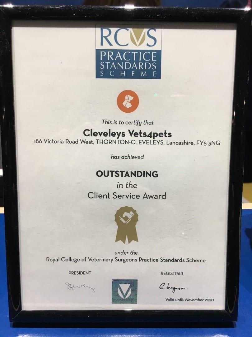 Cleveleys Vets4Pets RCVS award