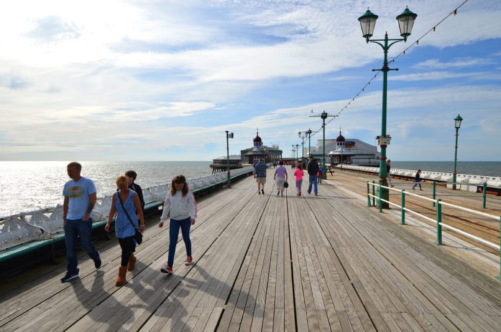 Promenade along Blackpool North Pier
