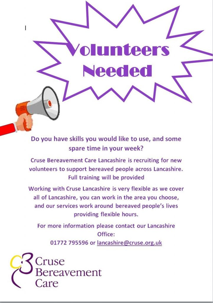 Volunteers needed for Cruse Bereavement Care Lancashire