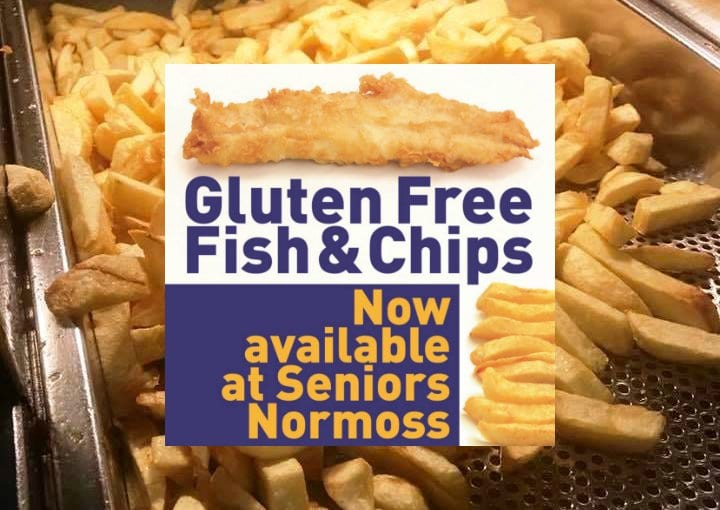 Gluten Free fish and chips at Seniors Normoss