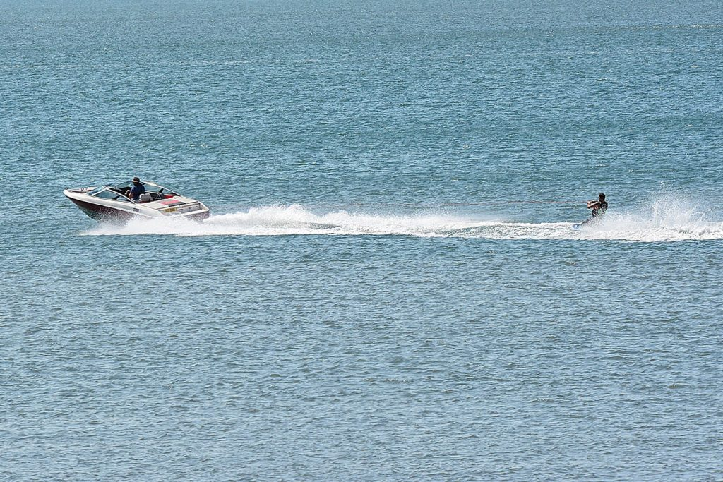 Motorboat and jet ski at Cleveleys during the heatwave of 2018