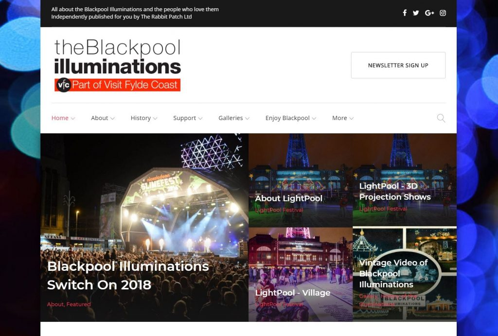 theBlackpoolilluminations.info website, originally sponsored by StayBlackpool