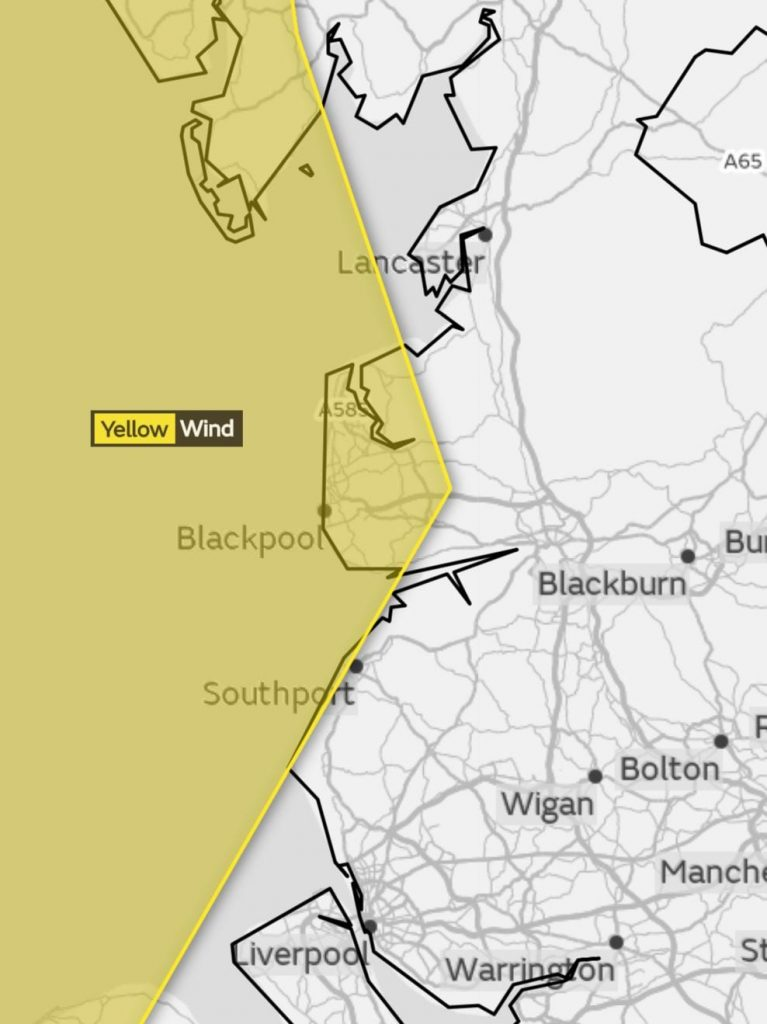 Yellow weather warnings for wind, 17.9.18