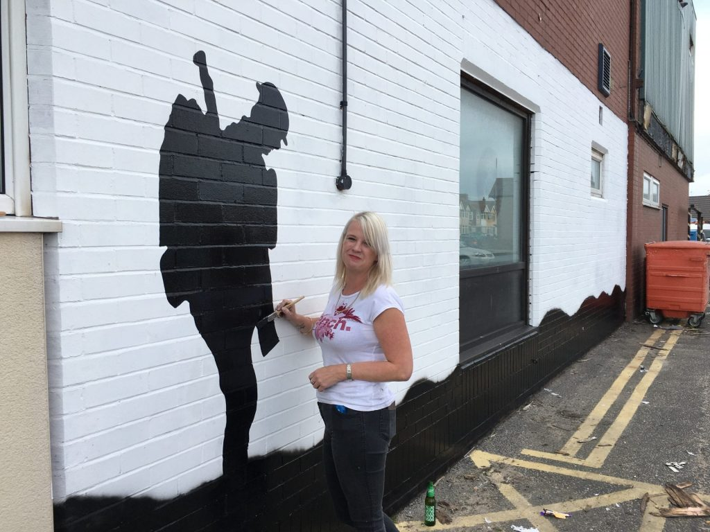 WW1 Centenary mural at the British Legion in Cleveleys