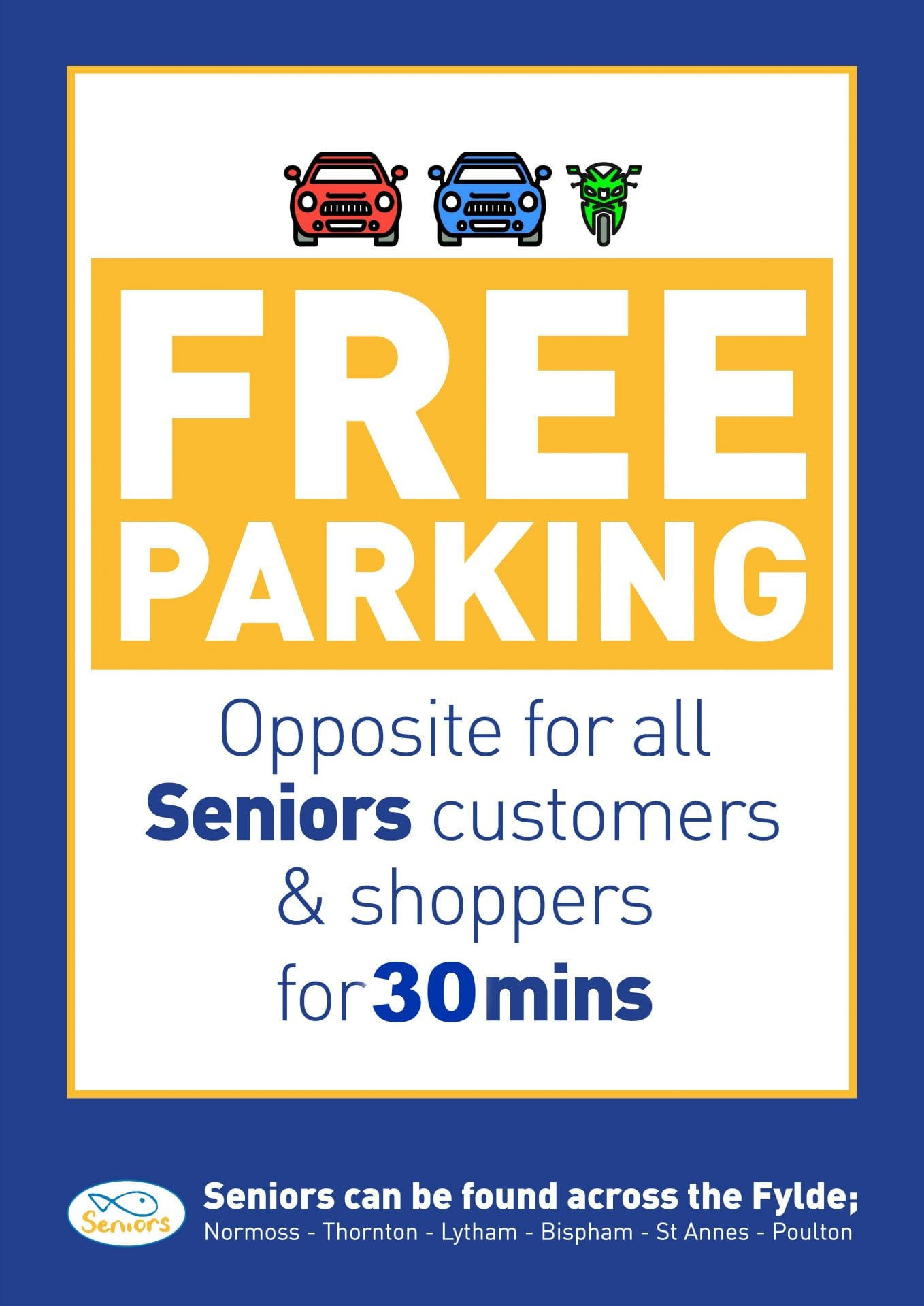 Free parking at Seniors Normoss for 30 minutes