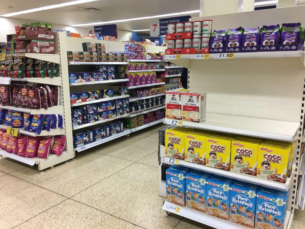 Empty shelves in Cleveleys Tesco. 50 Debenhams stores to close