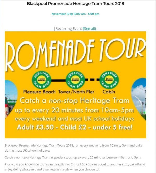 Event listing detail on Visit Fylde Coast
