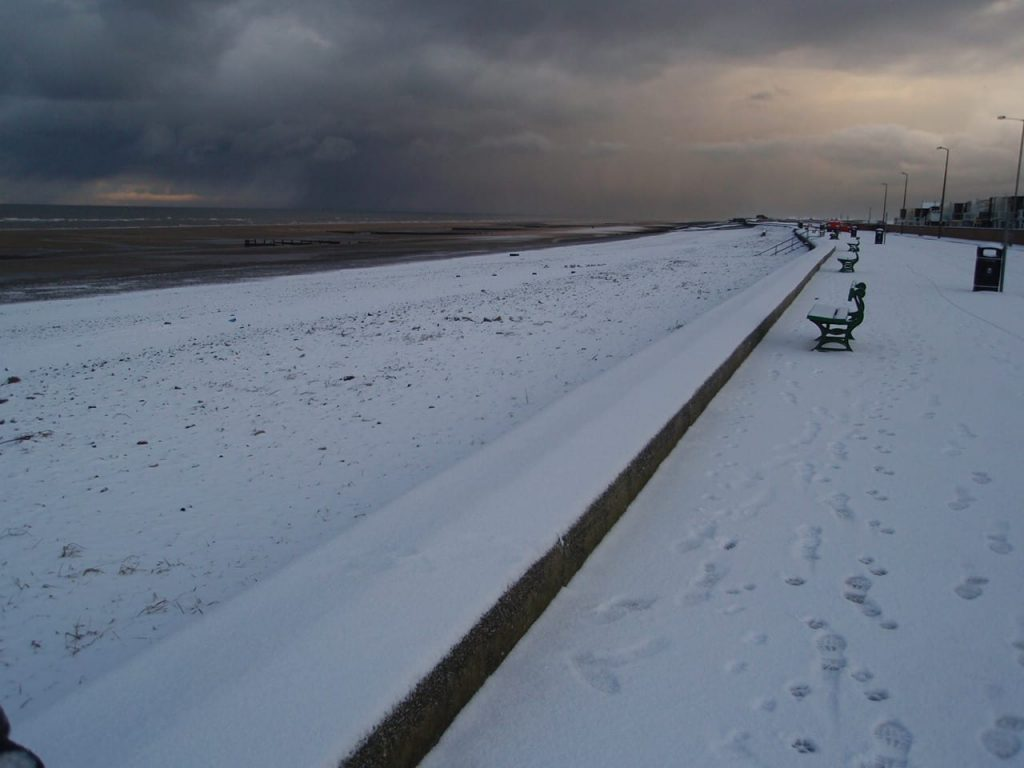 Cleveleys beach during snow at the seaside