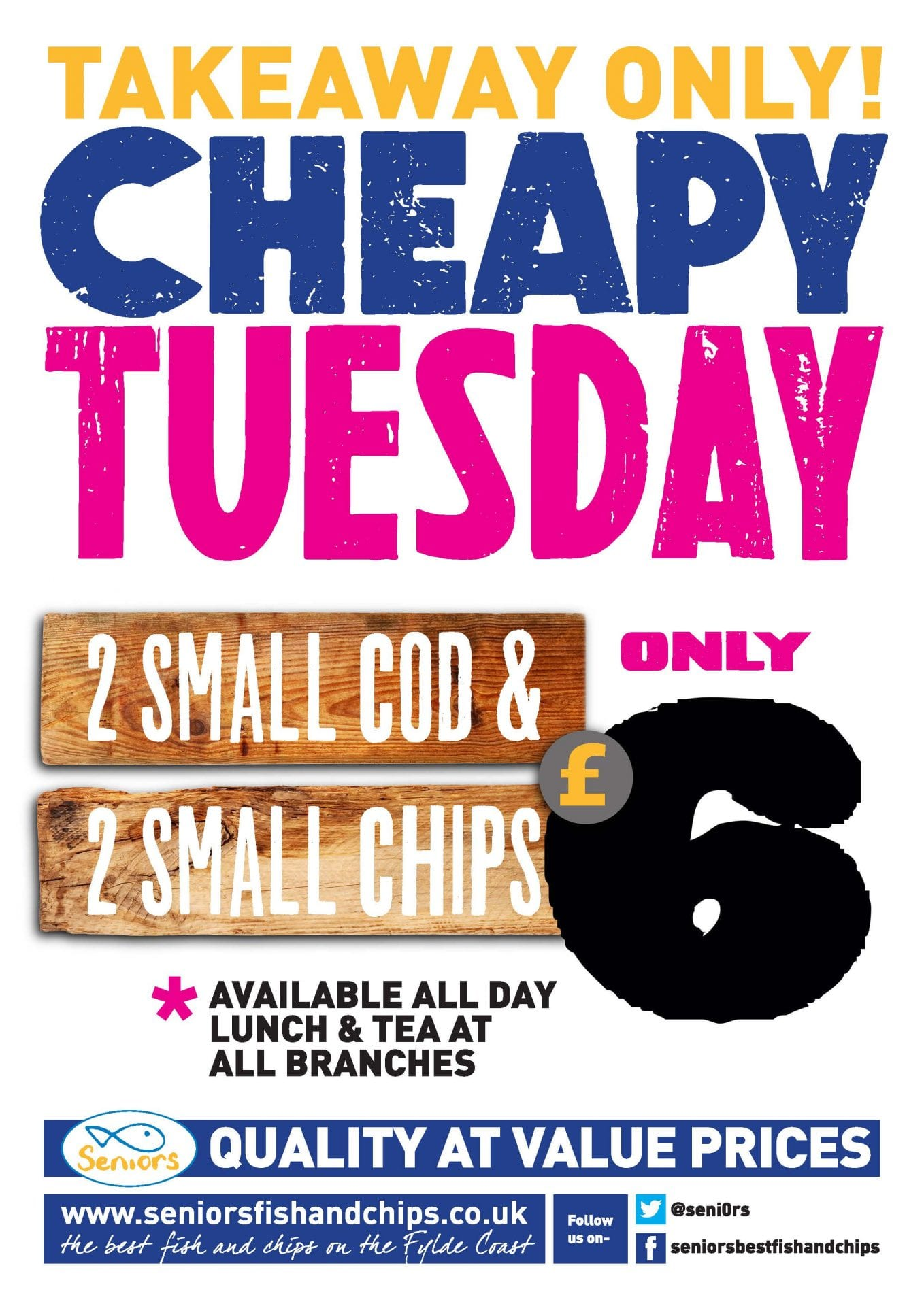 Cheapy Tuesday Takeaway at Seniors Fish and Chips