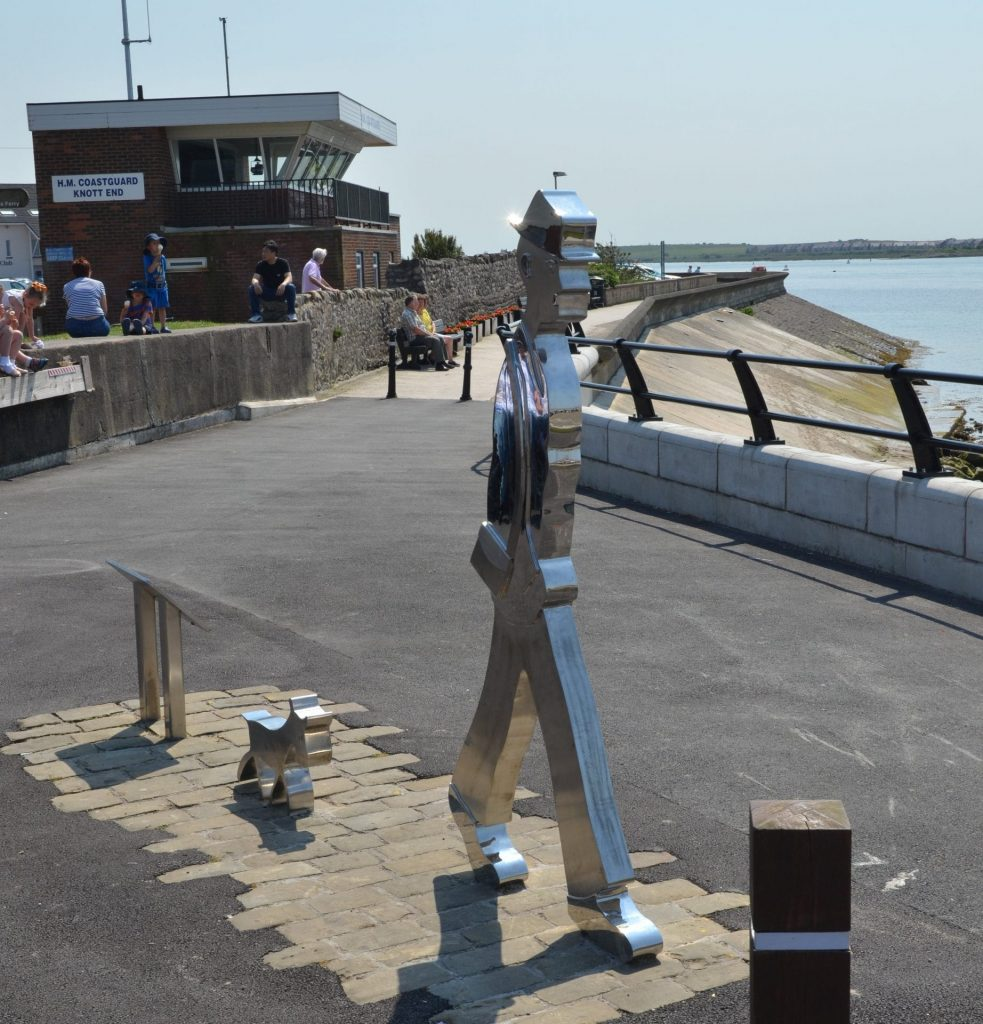 Knott End slipway and LS Lowry statue