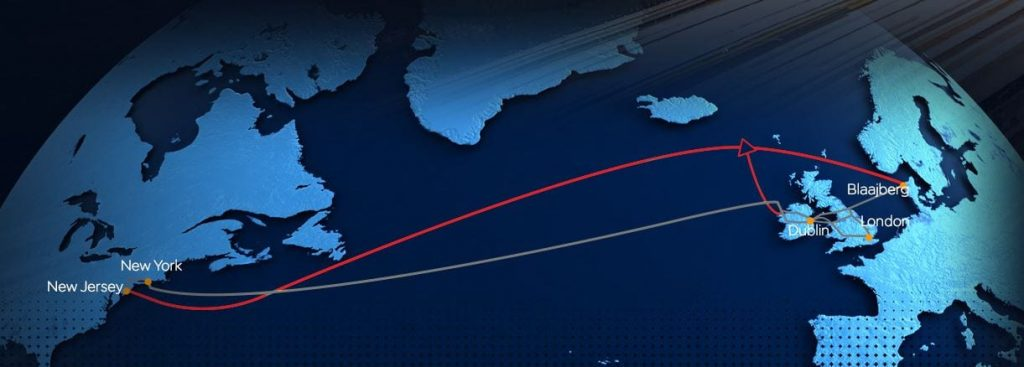 Route of transatlantic 5G Fibre optic cable to Blackpool