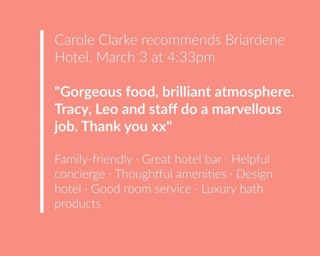 Recommendation for the Briardene Hotel, March 2019