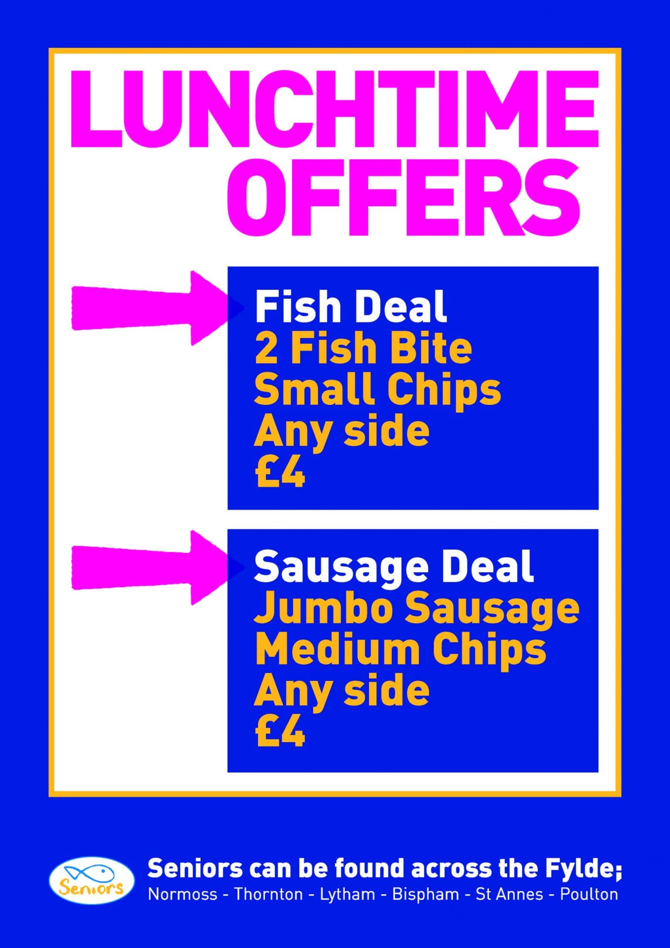 Lunchtime Offers at Seniors fish and chips