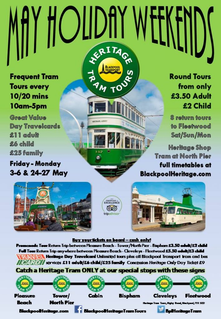 May Holiday Weekends with Blackpool Heritage Tram Tours