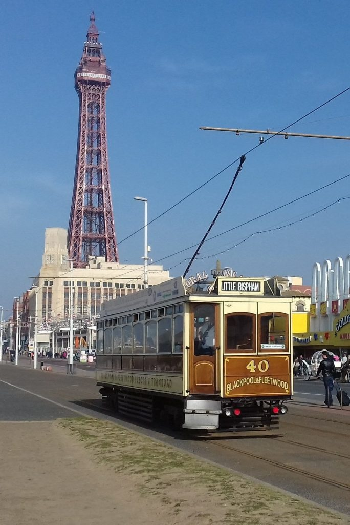 1914 built Blackpool Box No. 40 is en-route for Little Bispham, where it will turn on the turnaround loop. In the Background the famous Tower