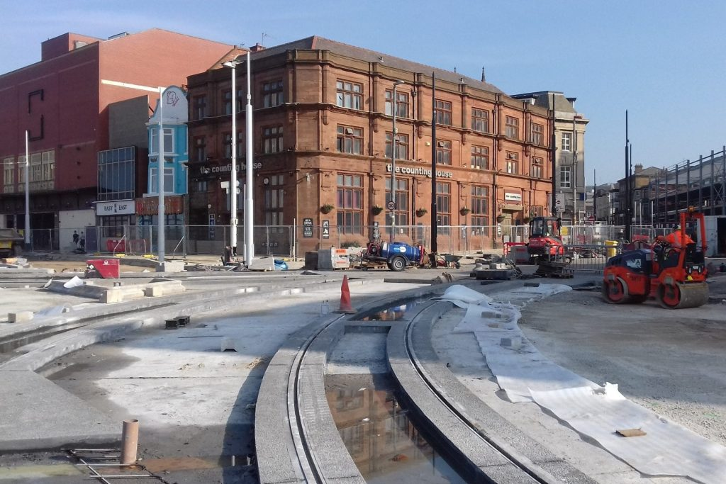At the junction of Talbot Road and the Promenade the new tracks are now in place from both north and south directions to Blackpool station