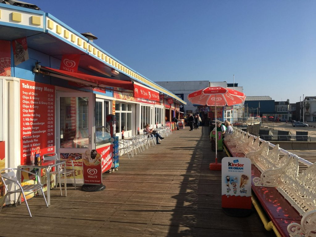 Stalls, kiosks and cafes at Blackpool Central Pier