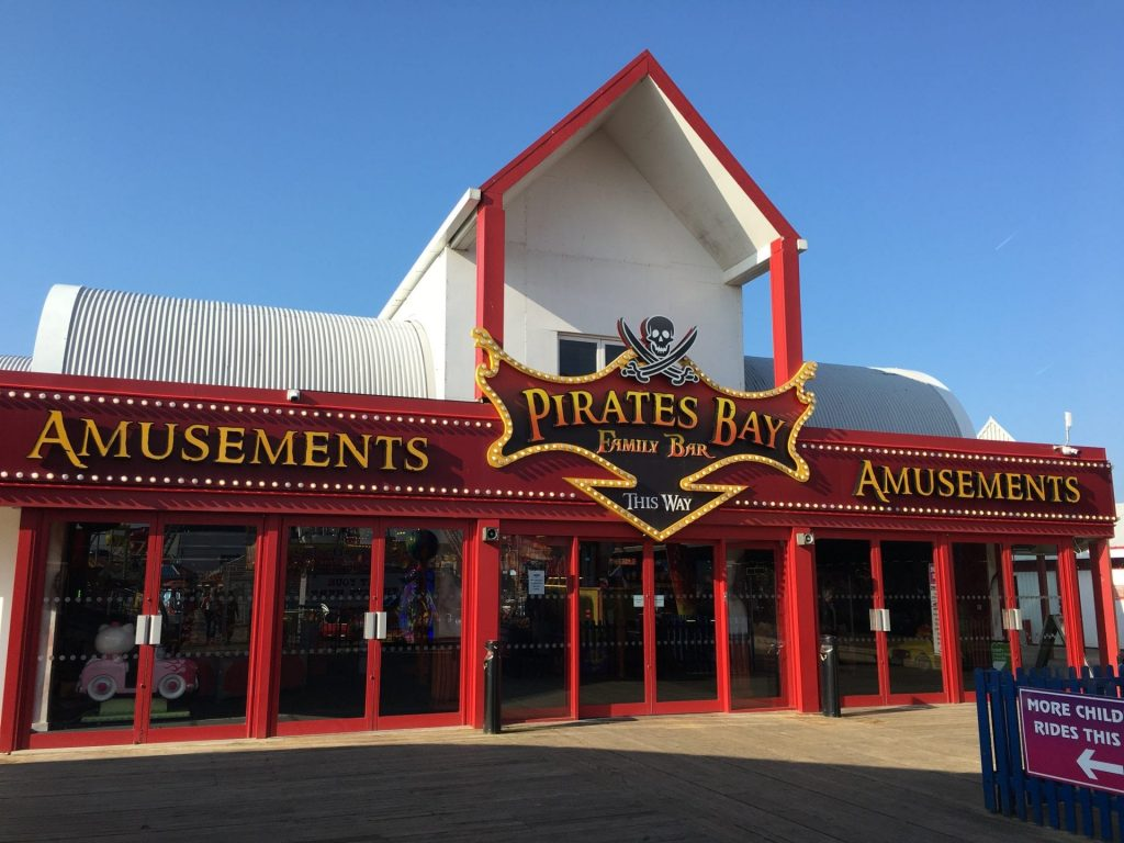 Pirates Bay Family Bar at the end of Blackpool Central Pier