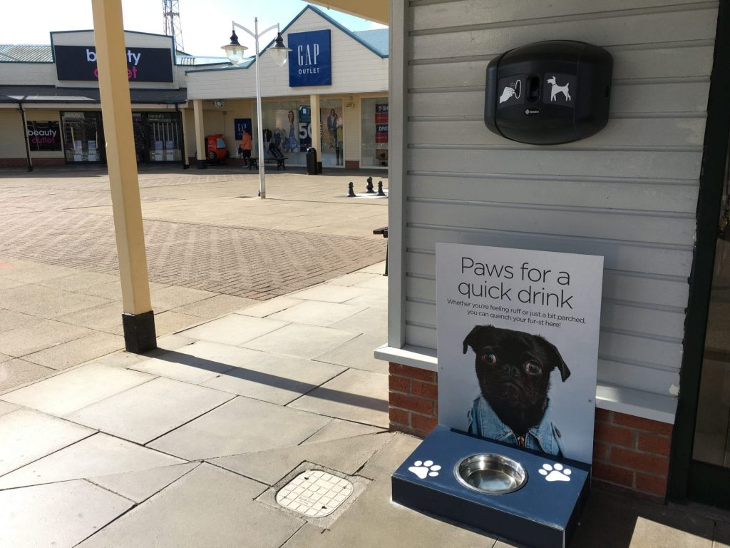 Dog bowl and poo bag dispenser at Affinity Lancashire