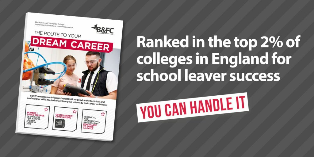 Great school leaver success rates at Blackpool and the Fylde College