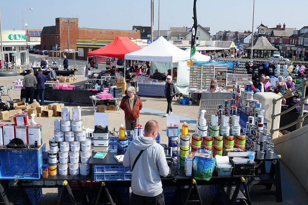 Cleveleys weekly market, every Wednesday at the Plaza on the seafront